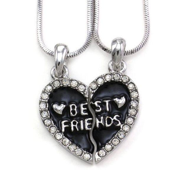 Broken Heart Best Friends Rhinestone Necklaces Snake Chain BFFJewelry ,broken heart necklaces ,snake chain necklaces