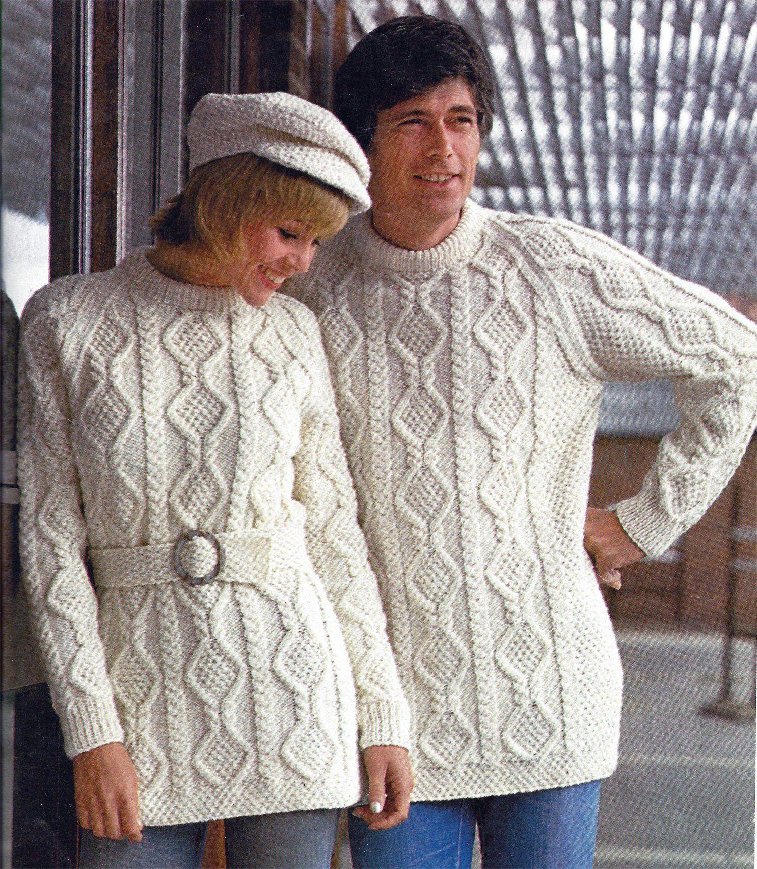 699bf3f135ffb7 PDF Instant Digital Download girls ladies men aran sweater   cap knitting  pattern 32 to 42 inch (974) by PatternsFromDaisylin on Etsy