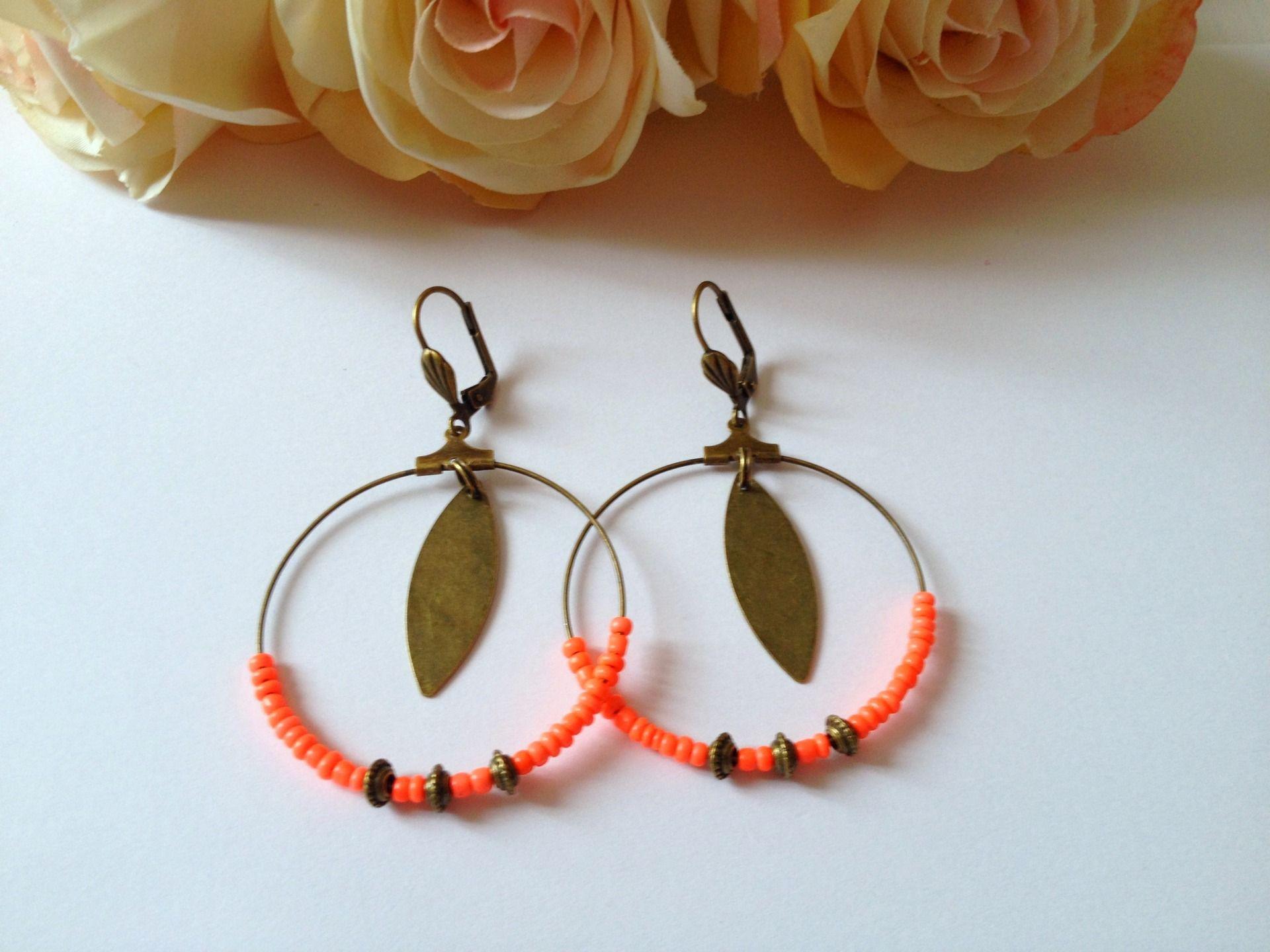 Boucles d'oreilles - Un air de bohème- couleur orange : Boucles d'oreille par mcp-les-crea-de-marie