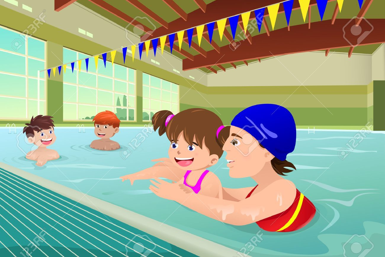 A Vector Illustration Of Kids Having A Swimming Lesson In