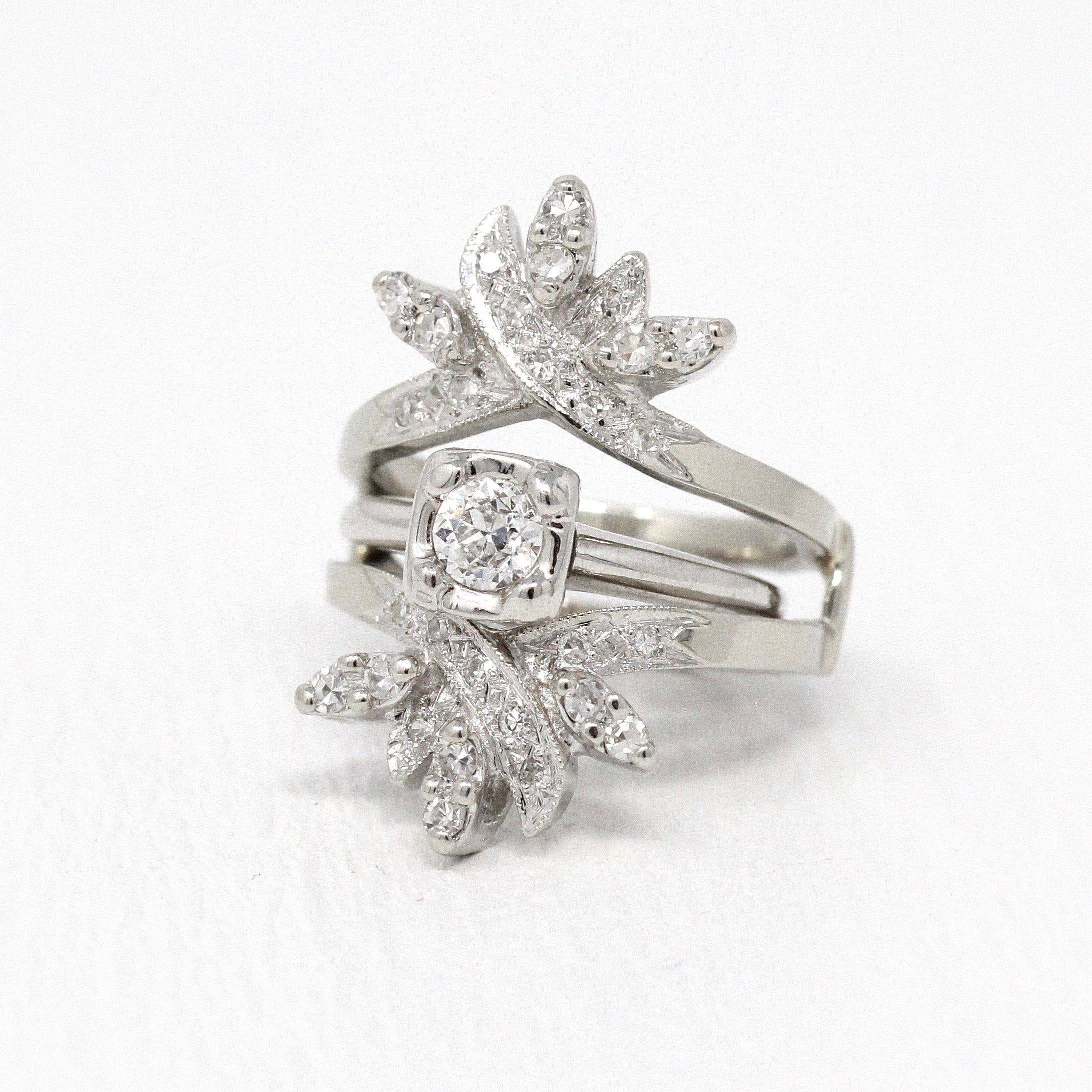 Diamond Wedding Jacket Vintage 14k White Gold Engagement