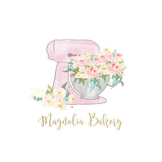 Logo Design Kitchen Mixer Bakery Logo By AntlersandPeonies