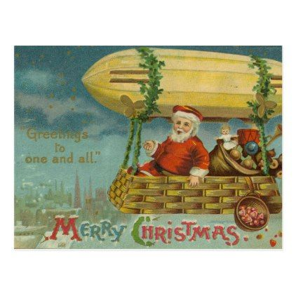 Zeppelin Santa Vintage Victorian Funny Christmas Postcard