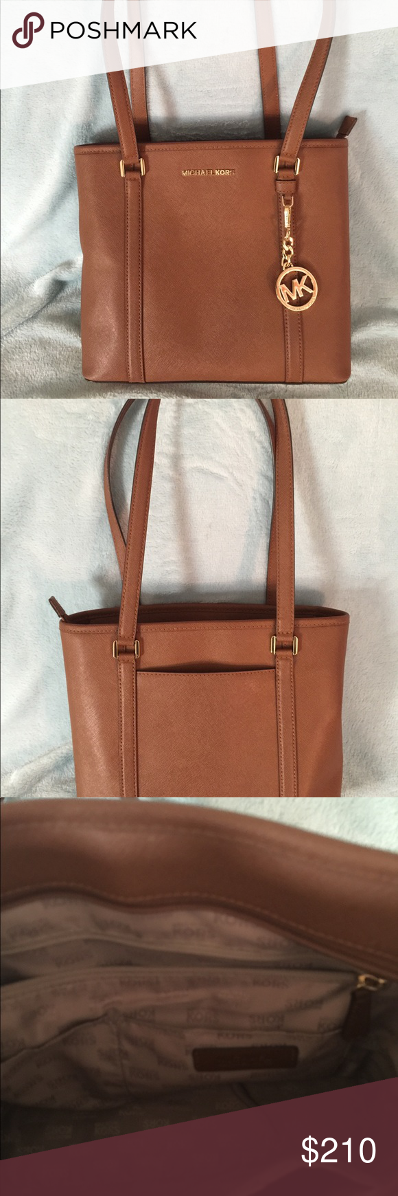 Michael Kors brown purse Michael Kors brown purse with MK logo gold chain.  Used purse. Make a offer All offers will be considered Michael Kors Bags  Shoulder ... 58e69c3443