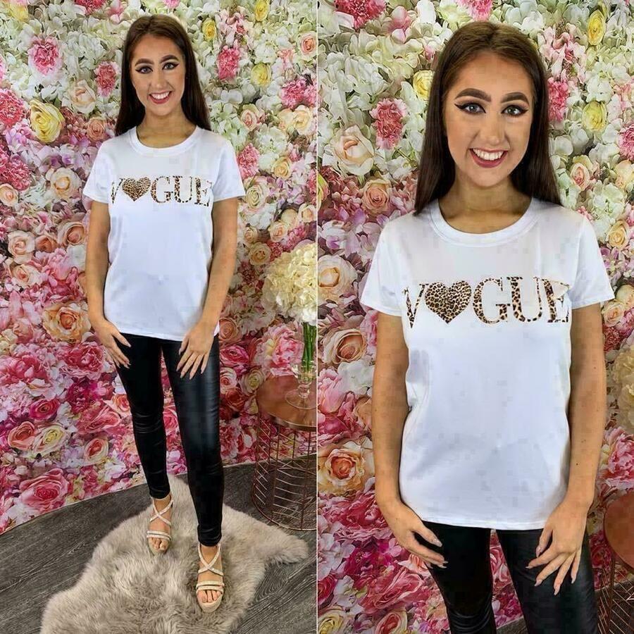 "Womens Ladies Short Sleeve T-Shirt /""VOGUE HEART /"" Leopard Slogan Print Tee Top"