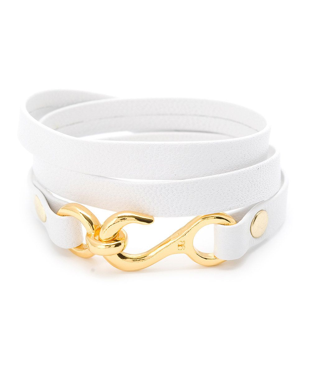 Take a look at this gorjana White & Gold Taylor Leather Triple Wrap Bracelet on zulily today!