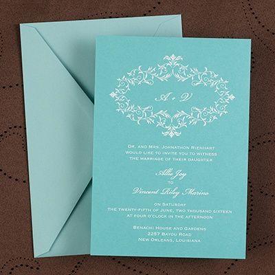 2014 Wedding Colors: Aqua: Laurel - Invitation - Lagoon Shimmer (Invitation Link - http://occasionsinprint.carlsoncraft.com/Weddings/Invitations/WA-WA30945FLLAG-Laurel--Invitation--Lagoon-Shimmer.pro) #2014weddingcolors