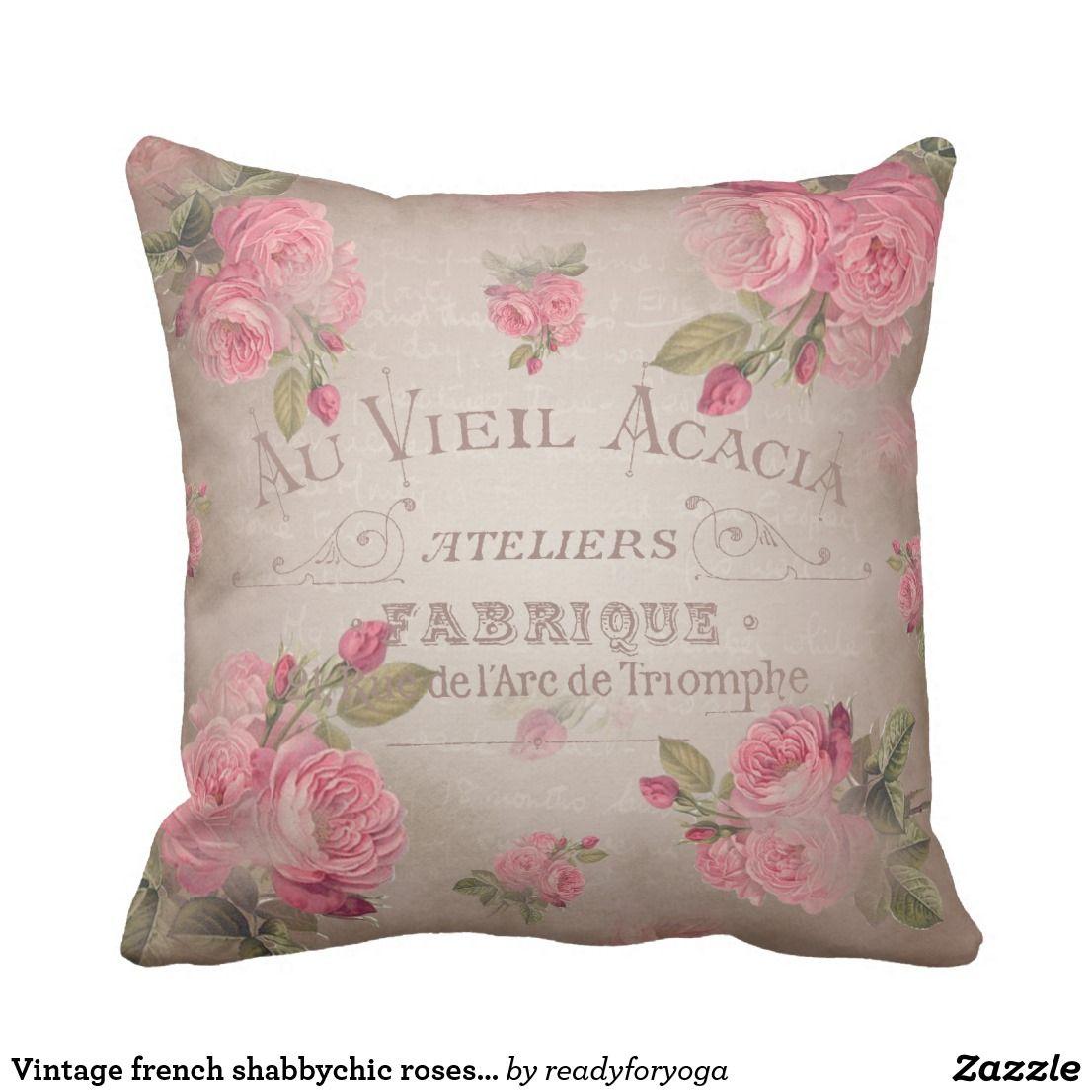 vintage french shabbychic roses pink floral lumbar pillow shabby rh pinterest com