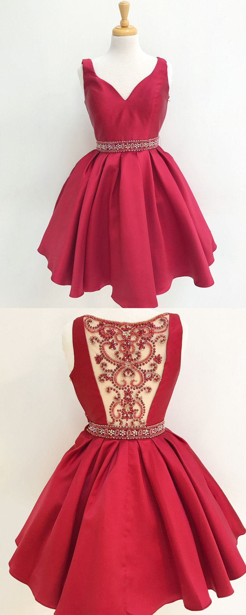 Short homecoming dress beads back short red homecoming dress party