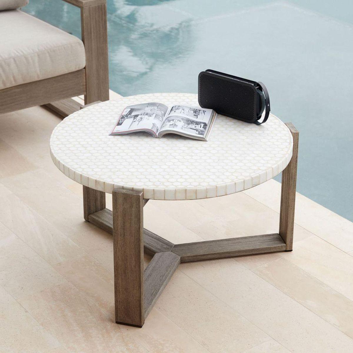 mosaic coffee table white marble weathered grey base modern rh pinterest com