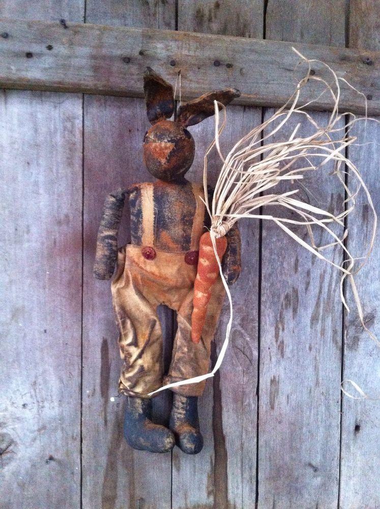 Primitive Spring black folk art bunny rabbit doll easter with carrot overalls 18 #NaivePrimitive