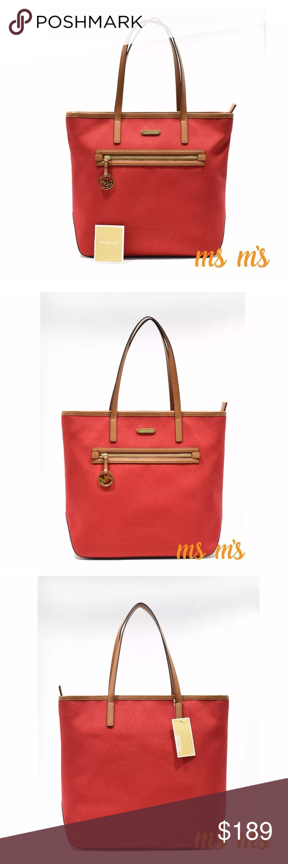 😲❗️SALE❗️FIRM PRICE NWT Michael Kors CANVAS tote Color   Red Canvas Fabric c4384a289d