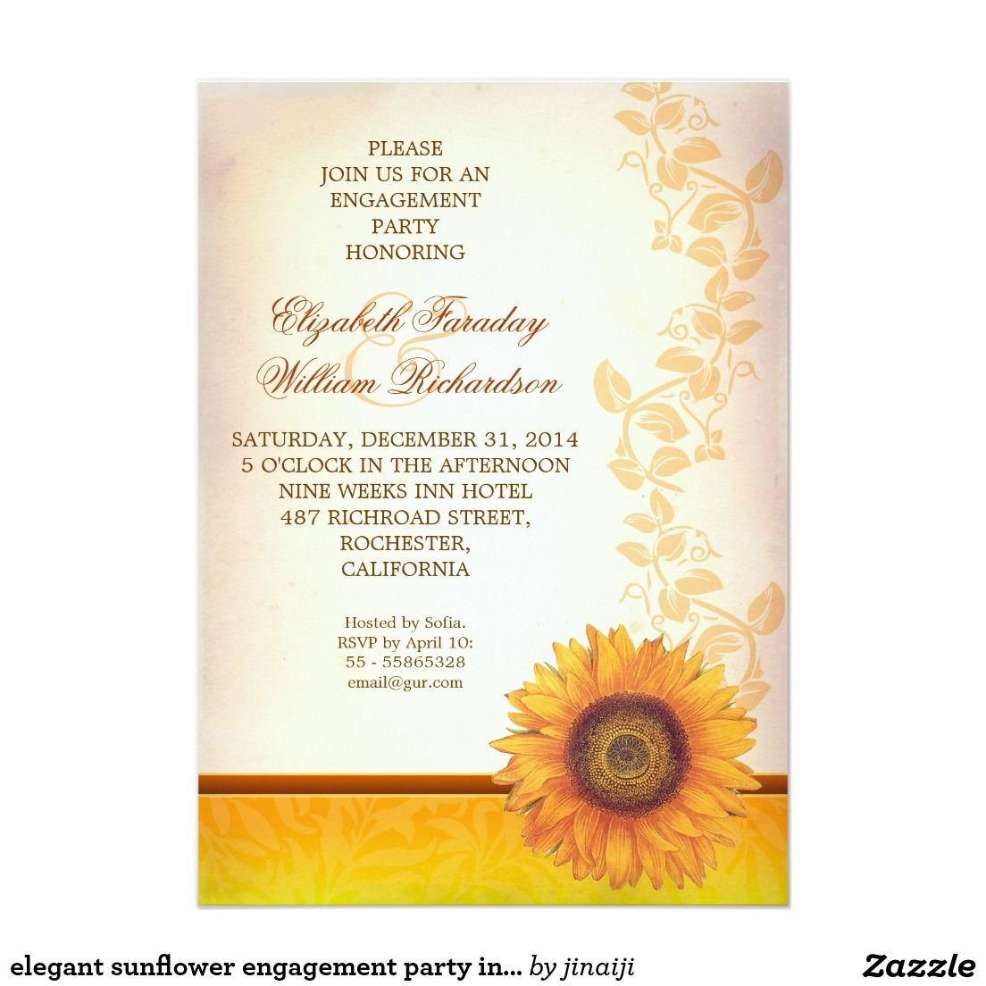 Elegant Sunflower Engagement Party Invitation Engagement Party