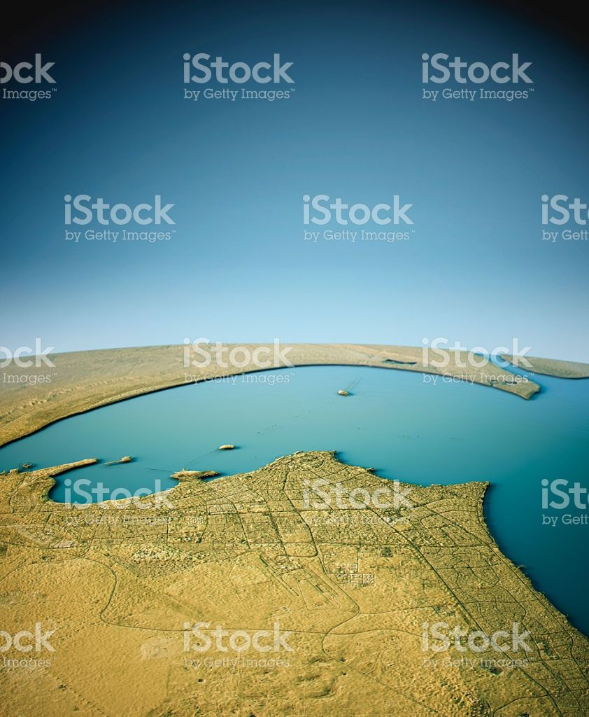 Royalty Free Map%0A  D Render of a Topographic Map of Kuwait City  Persian Gulf