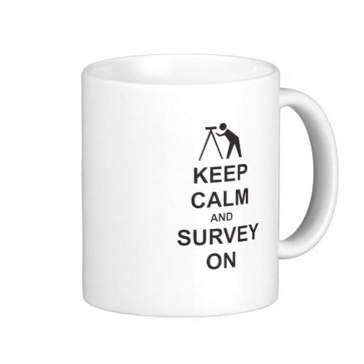 Great gift items for all Land Surveyors who keep calm and hold steady in their daily jobs. Illustration of surveyor with instrument on the job.
