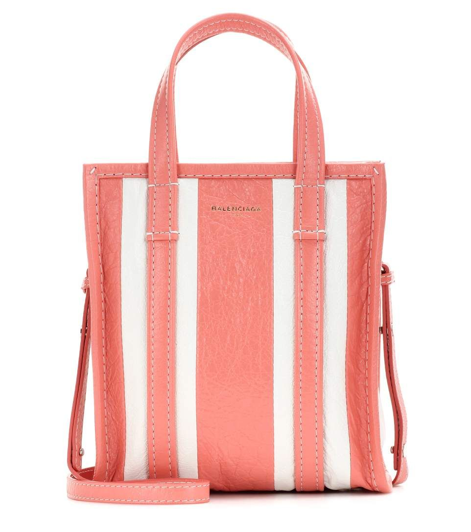 641b9c60fc4 BALENCIAGA - Bazar Shopper XS striped leather shopping bag - Opt for the  mini version of Balenciaga's popular Bazar bag with the Bazar Shopper XS.