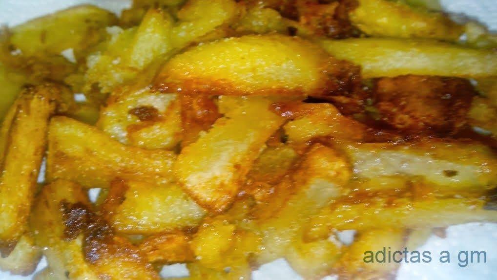 Patatas Fritas En Olla Gm Y Cabezal Horno Con Solo Una Cucharada De Aceite Patatas Fritas Al Horno Recetas De Patatas Fritas Recetas Con Patatas