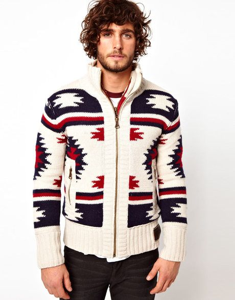 2980d81b1f Superdry White Navajo Knit Zip Cardigan