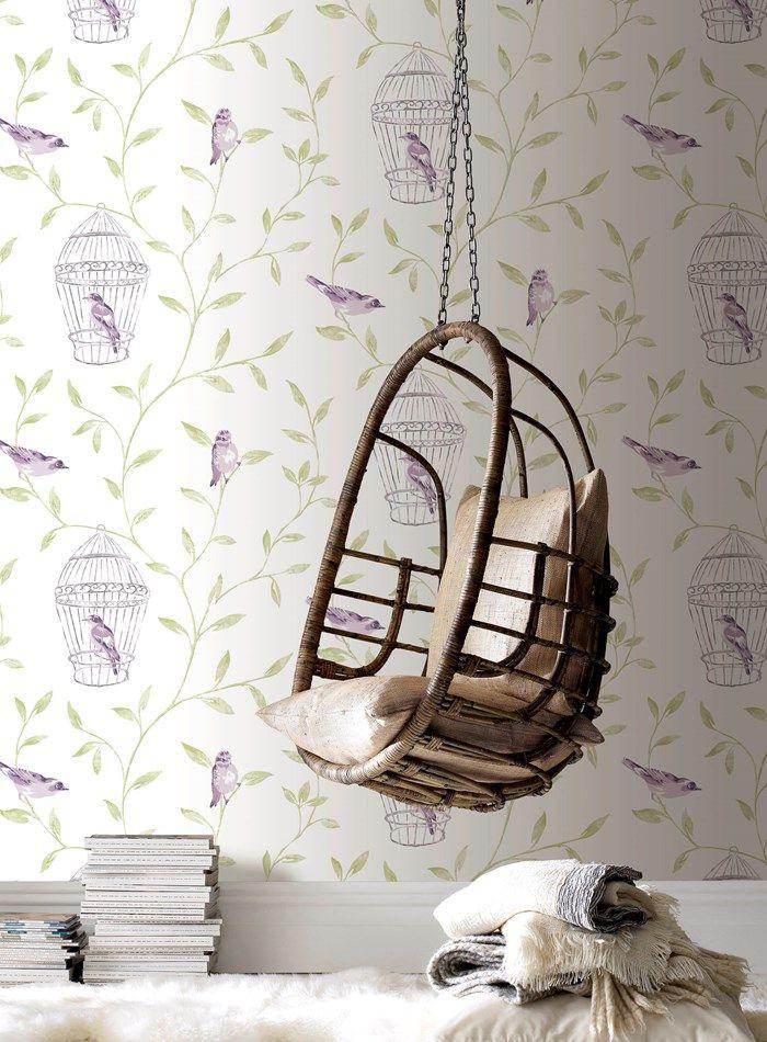 Birds Cages Purple Wallpaper Bird Wall