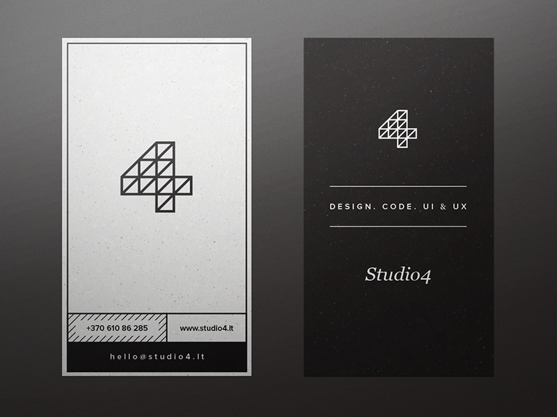 Sup,  Yesterday I spent some time on business cards you can see here. No names, pretty universal and still in progress.  For bigger view check attachment  Any thoughts? :)  Produced in Studio4