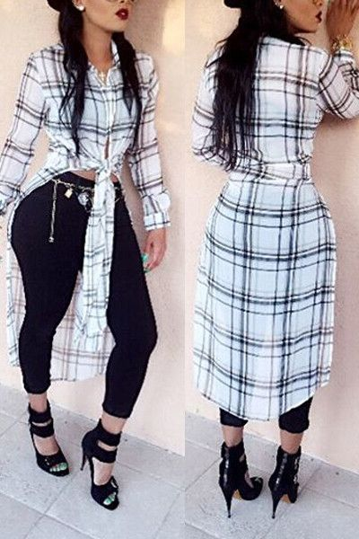 Turndown Collar Long Sleeves Plaid White Top - ROASO - 1