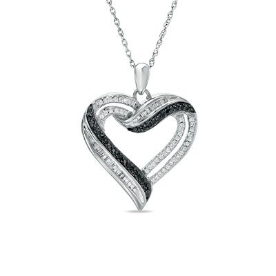 Zales 1/4 CT. T.w. Enhanced Black and White Diamond Zebra Heart Pendant in Sterling Silver y8whZRXw