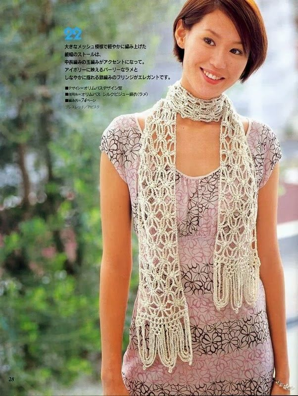 Bufanda Flores Caladas Flecos Cadenetas - Patrones Crochet ...