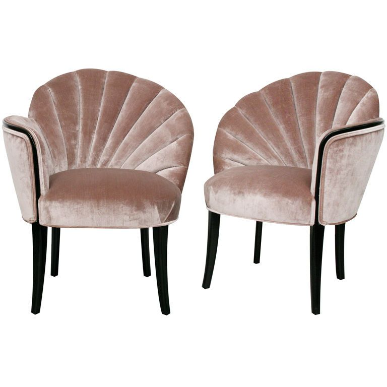 Pair of 1920's Art Deco Shell Back Boudoir Chairs | From a ...