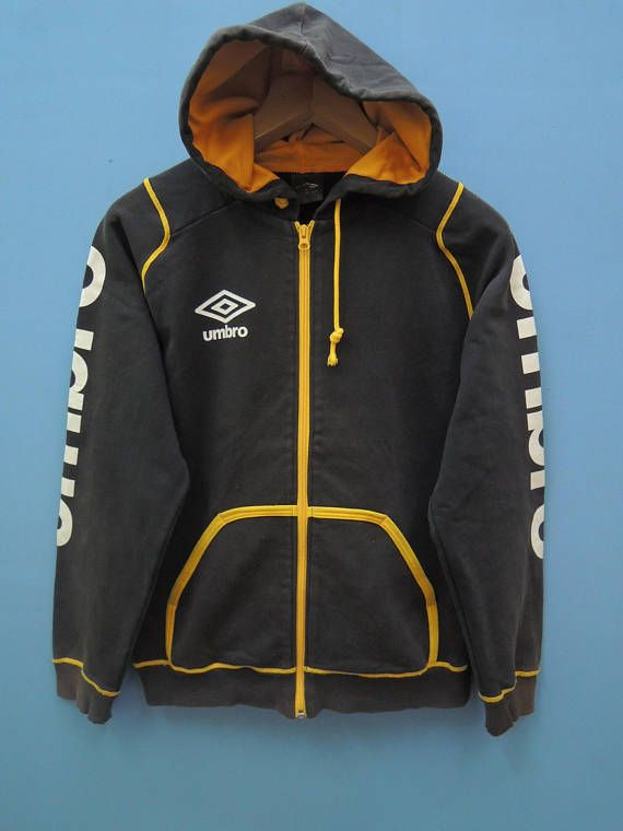 Vintage Umbro Big Logo Sport Sweater Fully Zipper Hoodies Hip Hop Street  Wear Pull Over Sweater S 581eec08853