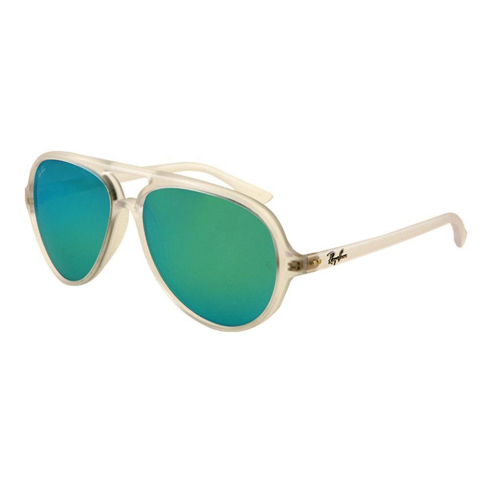 a4fdee93180 Ray-Ban RB 4125 646-19 59 Women s CATS 5000 Crystal Grey Mirror Green Matte  Transparent Frame Sunglass