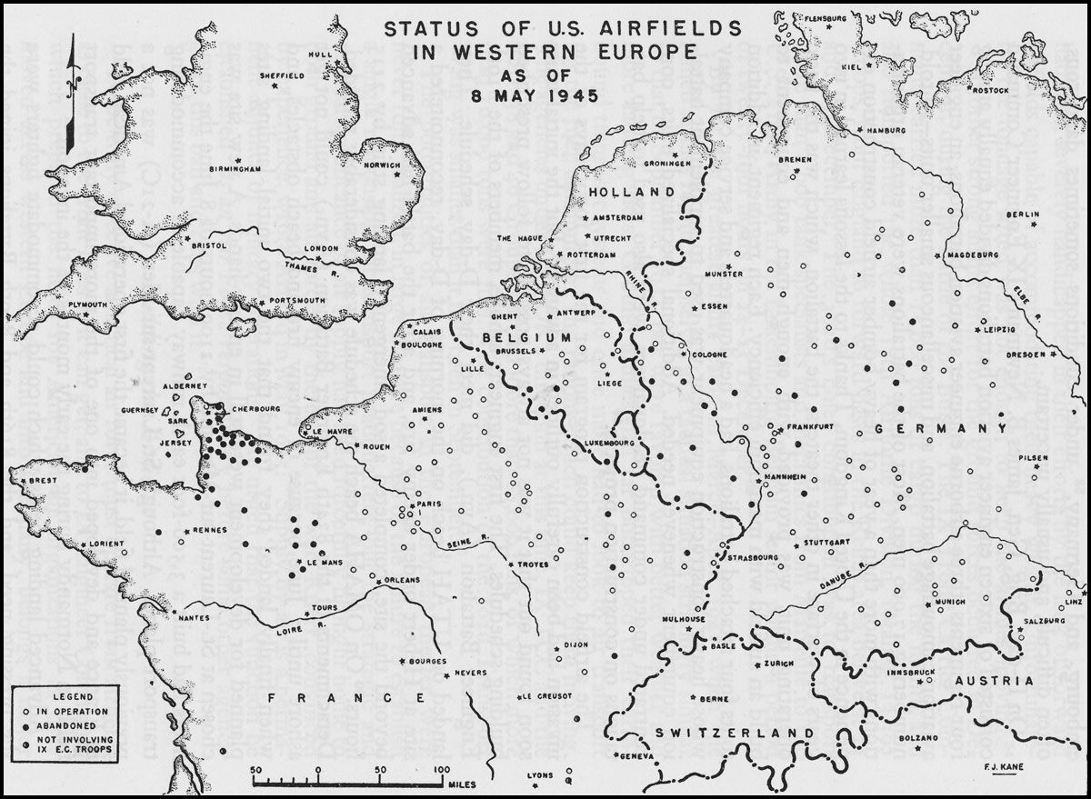 Map Of Us Airfields In Western Europe May Ww2
