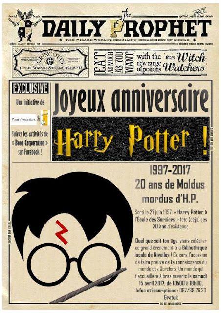 """""""Joyeux anniversaire Harry Potter !"""" à la Bibliothèque publique locale de Nivelles en 2020 ..."""