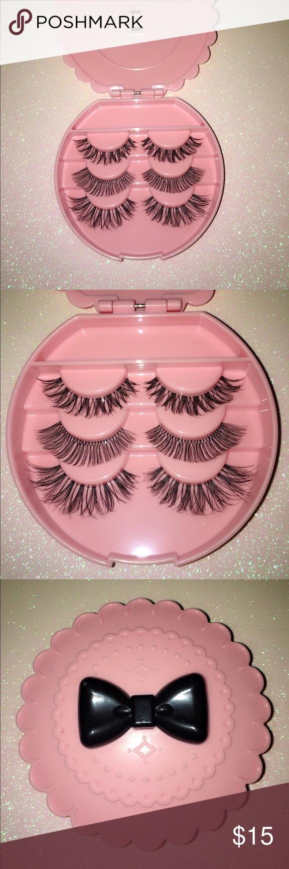 055b1fc9f3 Natural human Mink hair False Eyelashes set Comes with cute pink bow tie  eyelash