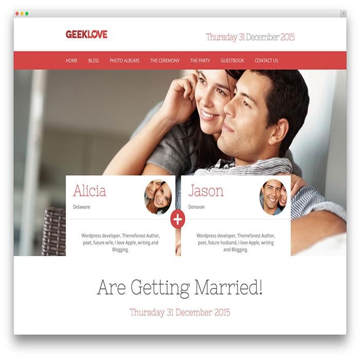 Geeklove Wedding Wordpress Theme Wedding Wordpress Themes
