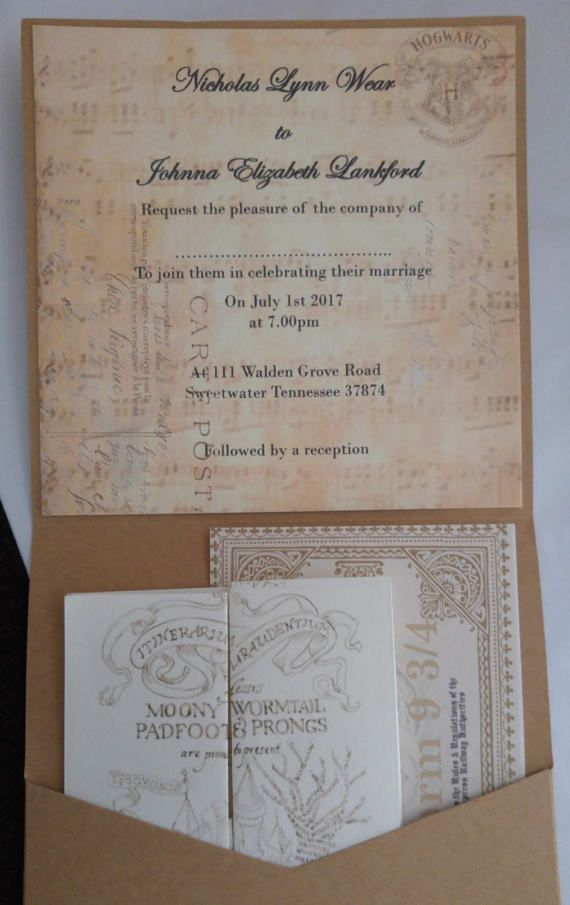 invitation wedding wording gifts%0A For all the harry potter fans out there these gorgeous invites contain all  you might need
