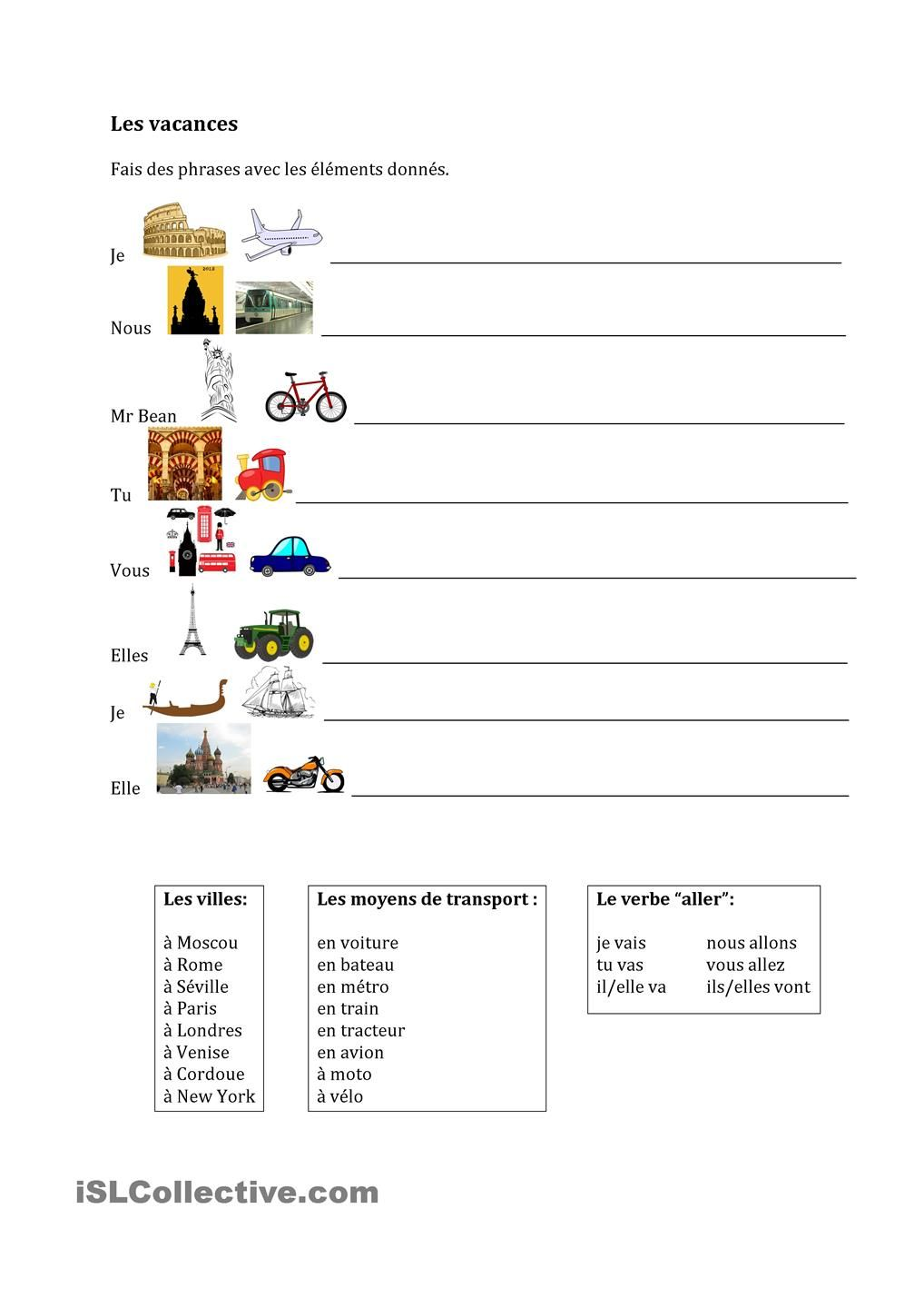 les vacances french worksheets worksheets and teaching french. Black Bedroom Furniture Sets. Home Design Ideas