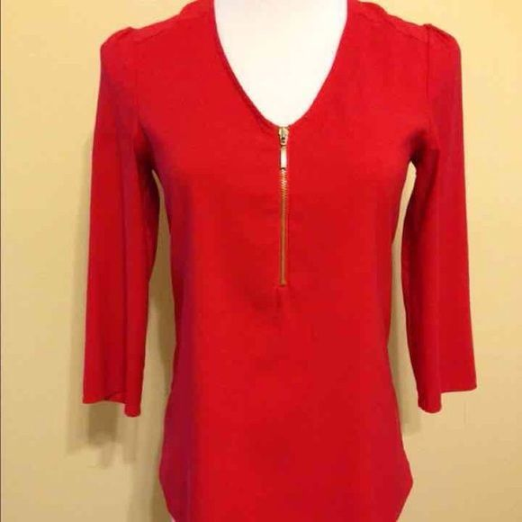 Express Women's Silky Zip Front Blouse New with tags Express Women's Silky Zip Front Red Blouse, size Large. 98% polyester, 2% spandex. From a smoke free and pet free home. Express Tops Blouses