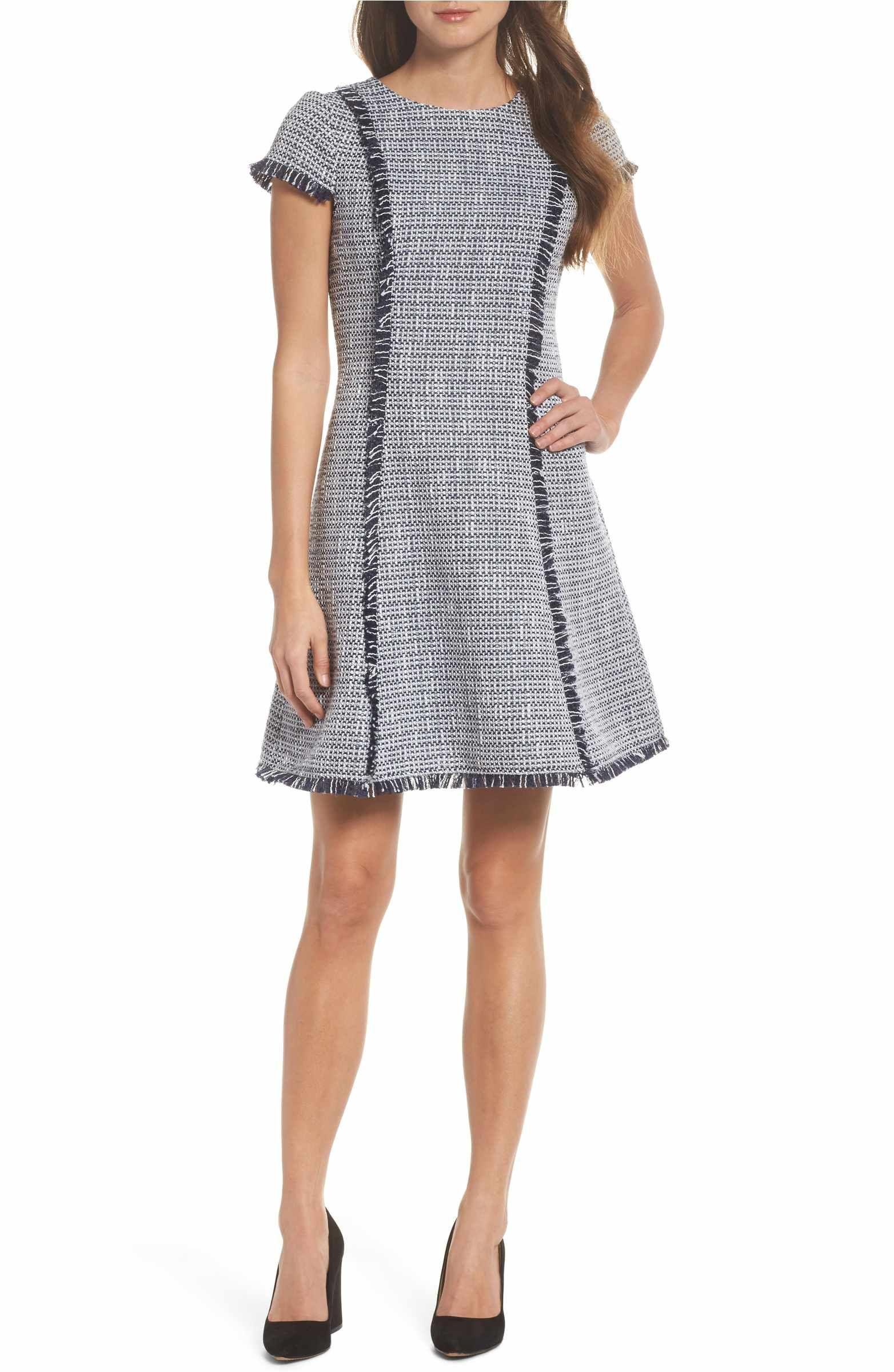 b48eefa1355 Main Image - Eliza J Tweed Fit   Flare Dress