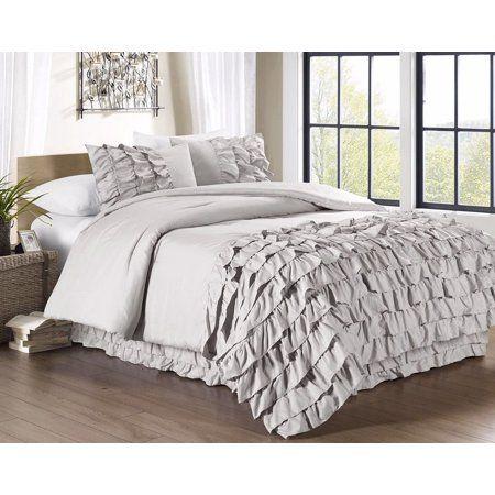 Chezmoi Collection Ella Waterfall Ruffled Comforter Set, White, Pink, Gray El