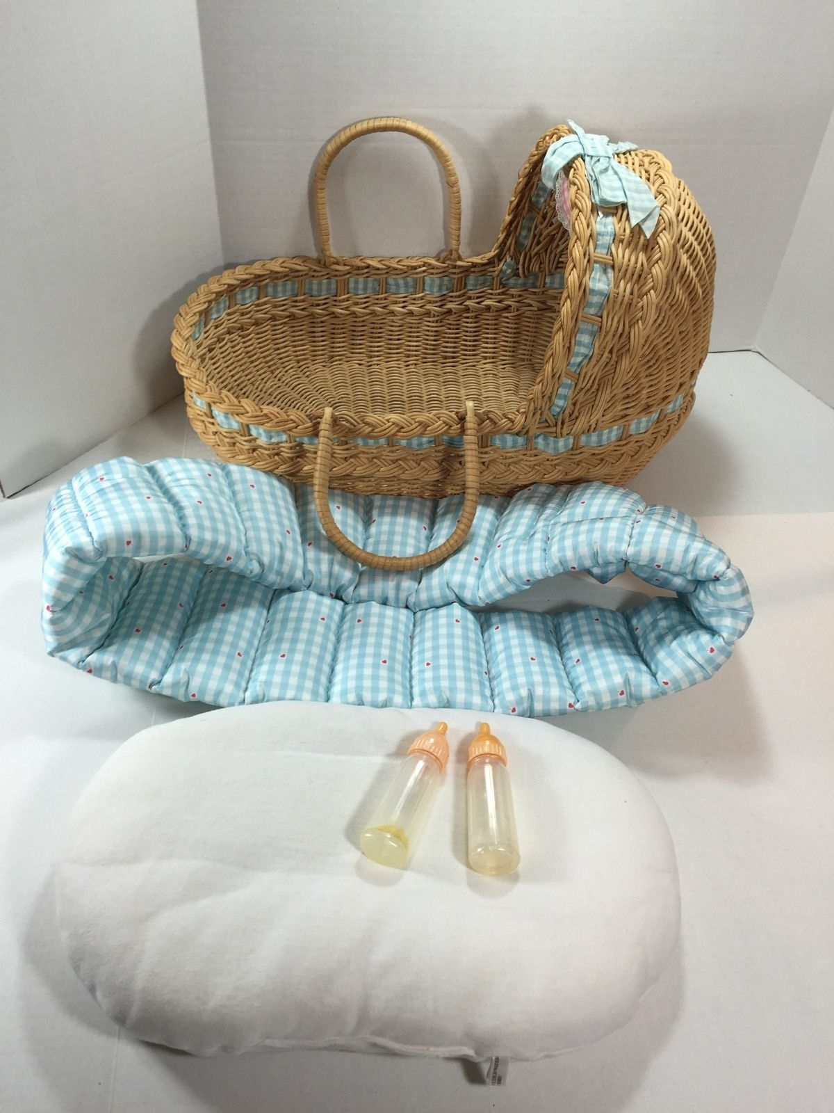 American Girl Bitty Baby Doll Wicker Moses Basket Bassinet Bed Blue ...