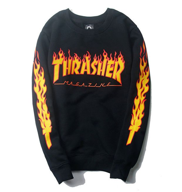 Black Crew Neck Thrasher Flame Logo Sweatshirt Magazine IqwIvXt