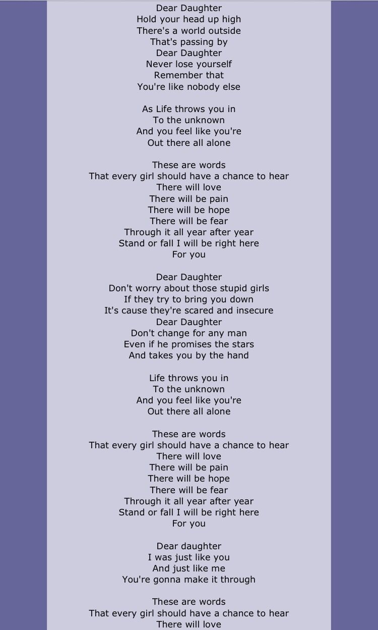 Stupendous Dear Daughter By Halestorm I Love This Song Makes Me Cry Ocoug Best Dining Table And Chair Ideas Images Ocougorg