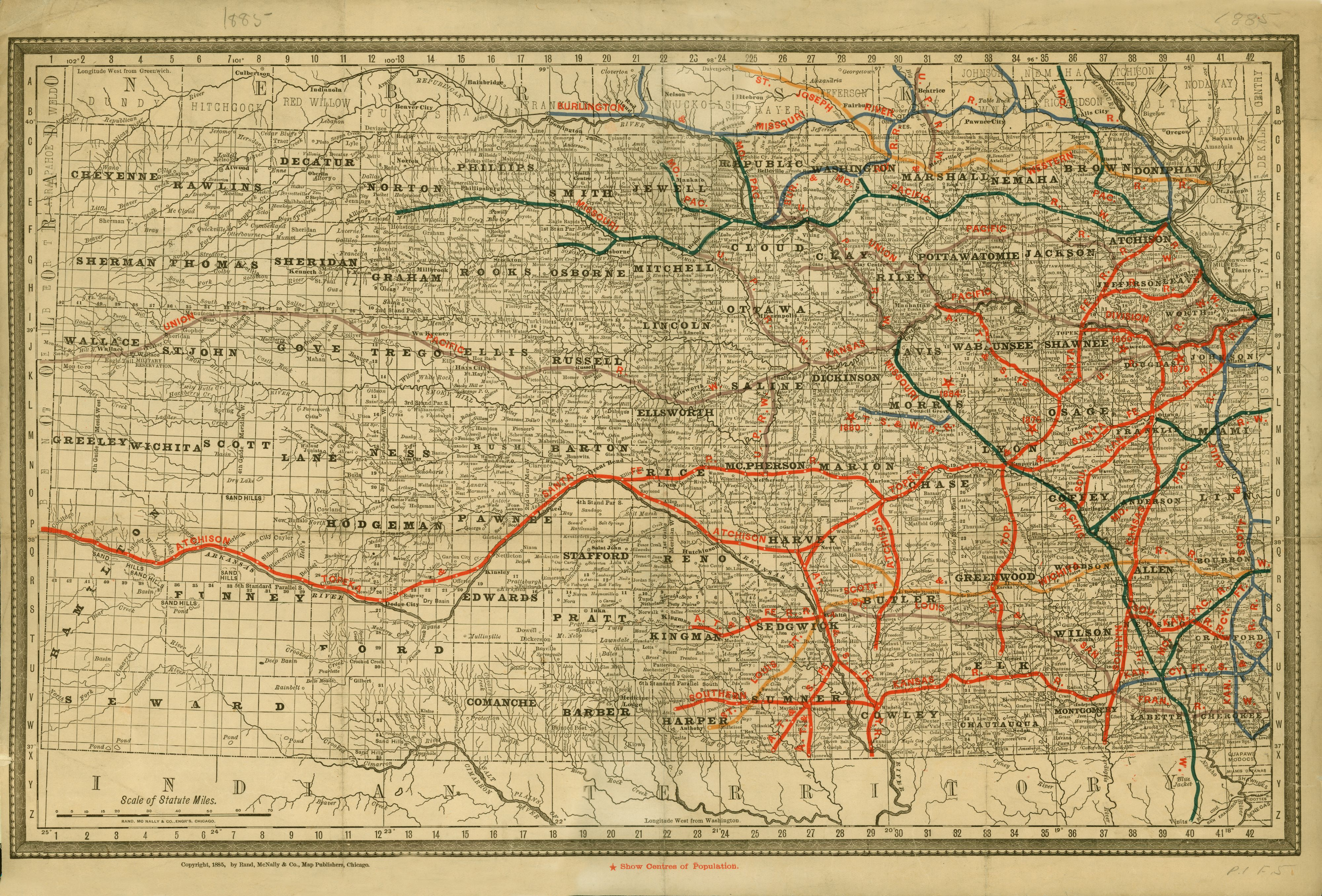 Official Kansas railroad map from 1885. My great-grandfather lived on kansas nuclear power plant map, kansas on map, small kansas town map, kansas unit map, kansas county map, co ks map, kansas oklahoma map, kansas colorado map, kansas soccer stadium, kansas quotes, kansas historic trails, kansas district map, kansas geology, kansas river map, kansas roadway map, kansas race map, kansas utility map, kansas weather radar, kansas transportation map, kansas america map,