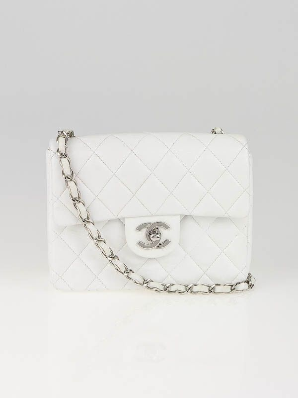 8aa506656aea1 Chanel White Quilted Lambskin Leather Mini Flap Bag