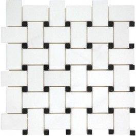 Thassos White Polished Basketweave Pattern With Black Dot Mesh Mounted Marble Mosaic Tile Basketweave Marble M Marble Mosaic Tiles Mosaic Tiles Marble Mosaic