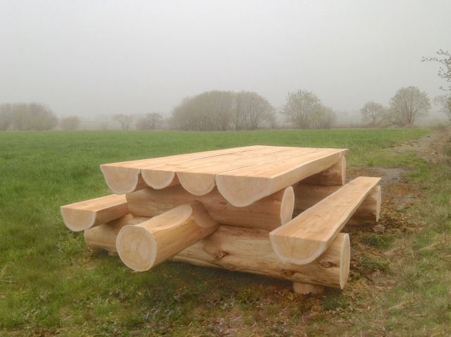 Beautiful Chunky Log Picnic Table