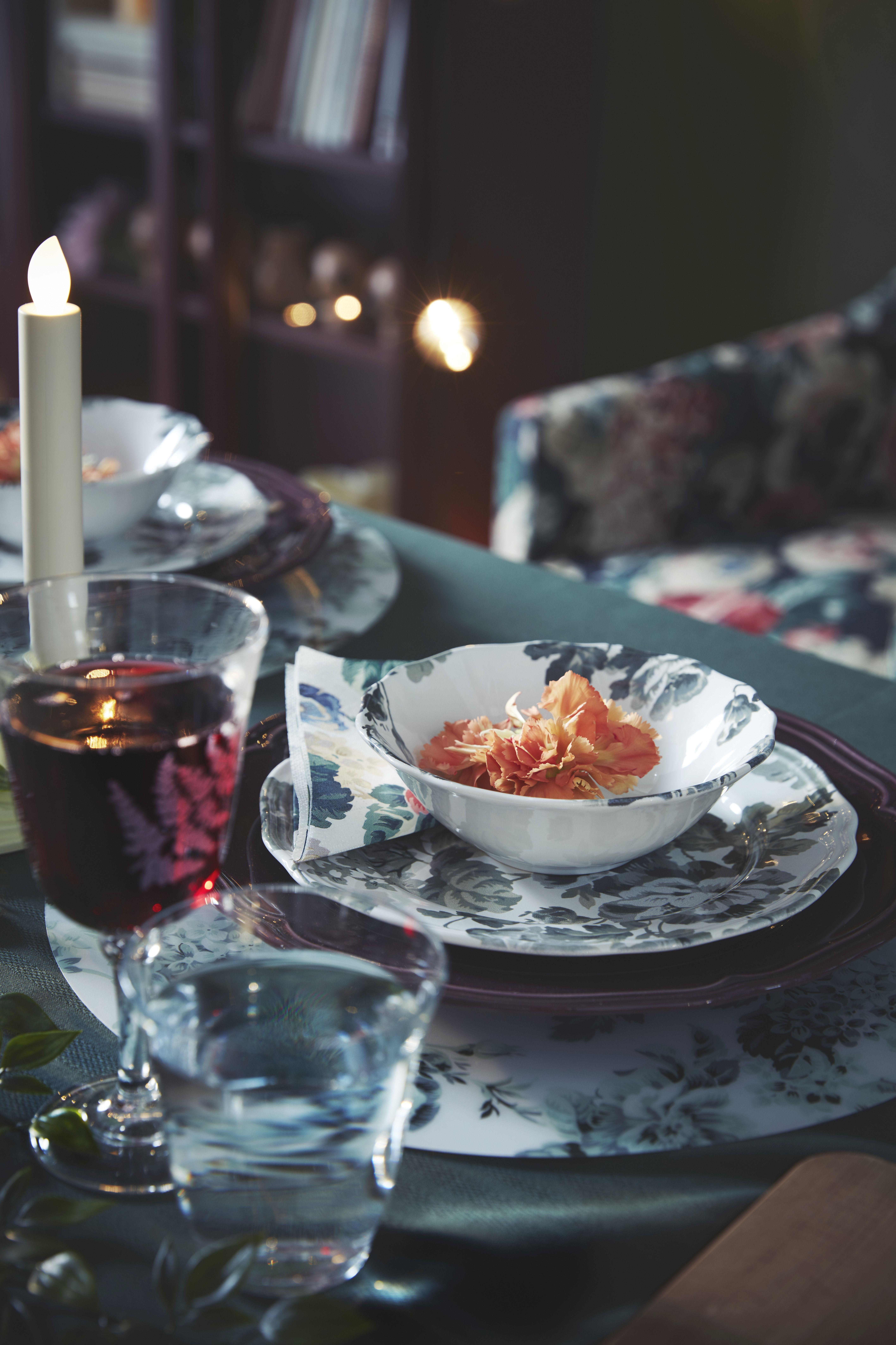 SMAKSINNE Tischset - weiß/grün, Blume #rustikaleweihnachtentischdeko