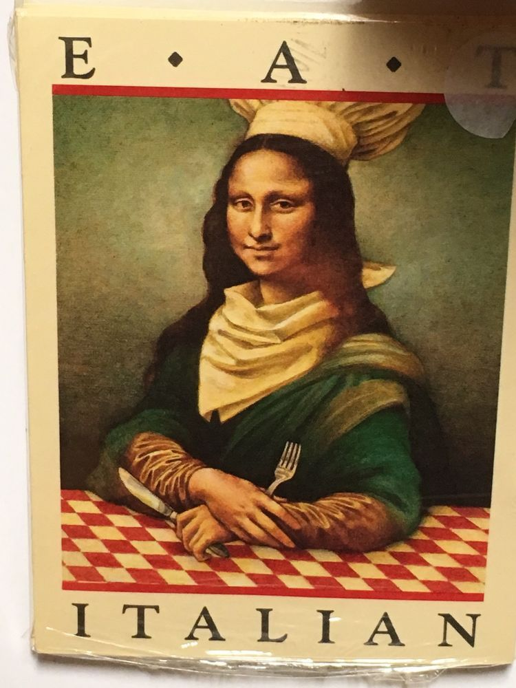 "Vtg Mona Lisa ""Eat Italian"" Dinner Pizza Party Invitations Hallmark 8-pack NOS (13)"