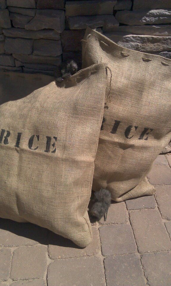 Pirate Party Decor. Rice sacks made of burlap with 'Rice' stenciling. Twine loosely stitched for easy open/close to stuff and unstuff. They fold flat for easy storage. Added rats, a black cauldron and cider jug (not pictured) to complete the Pirate's Galley. Called it Glutton Galley! Tee hee.