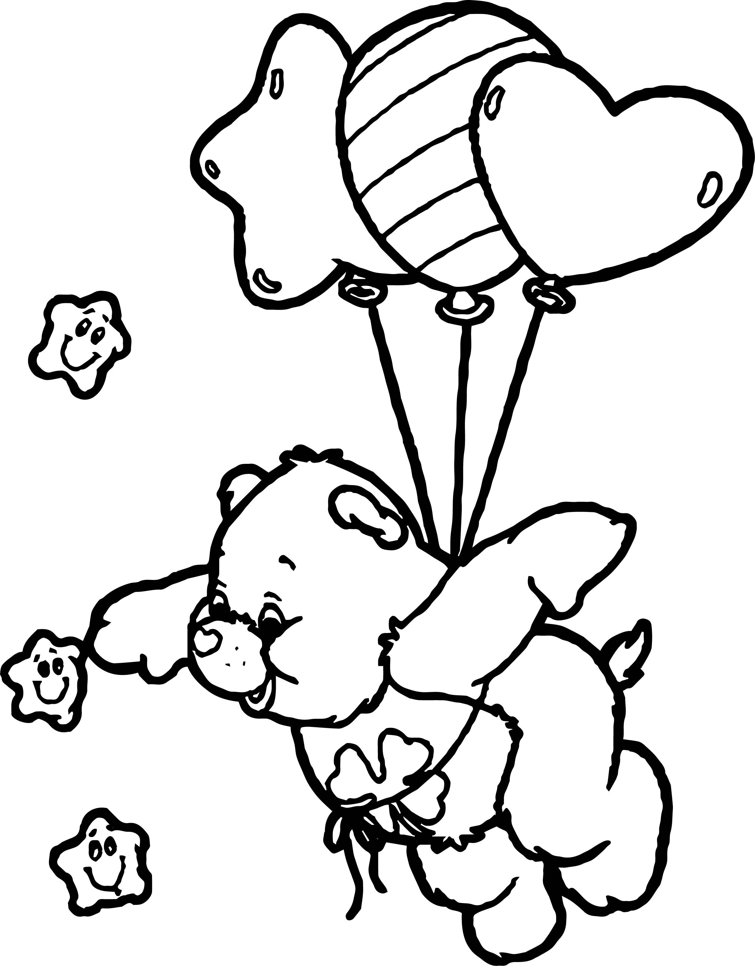 Nice Care Bears Fly Balloon Coloring Page Bear Coloring Pages